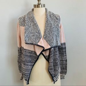 Candies pink and gray soft fuzzy cardigan sweater